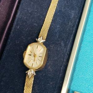 Vintage Women's Hamilton 10k gold diamond watch